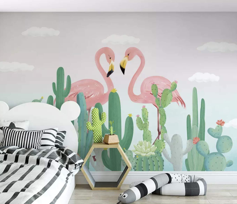 Flamingo Wallpaper Tropical Leaf Wall Mural Crow Wall Art Nursery Wall Decor Boys Girls Bedroom
