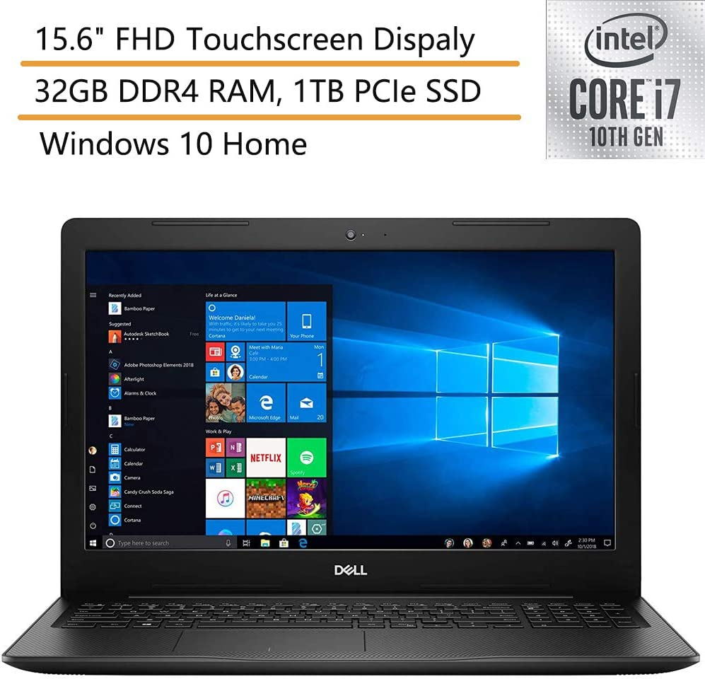 """2020 Dell Inspiron 15 15.6"""" FHD Touchscreen Laptop Computer, 10th Gen Intel Quard-Core i7 1065G7 up to 3.9GHz, 32GB DDR4 RAM, 1TB PCIe SSD, Black, Windows 10, iPuzzle Mouse Pad"""