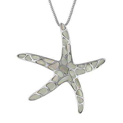 Amazon sterling silver white mother of pearl starfish pendant sterling silver white mother of pearl starfish pendant necklace 162quot extender aloadofball Choice Image