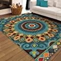 """Indoor/Outdoor Rectangle Latex Free Geo Bongkok Multi Area Rug (7'8"""" x 10'10"""") In Contemporary Style With A Floral Pattern. In Colors of Ivory, Blue, Red, Green, Yellow, Orange And Brown"""