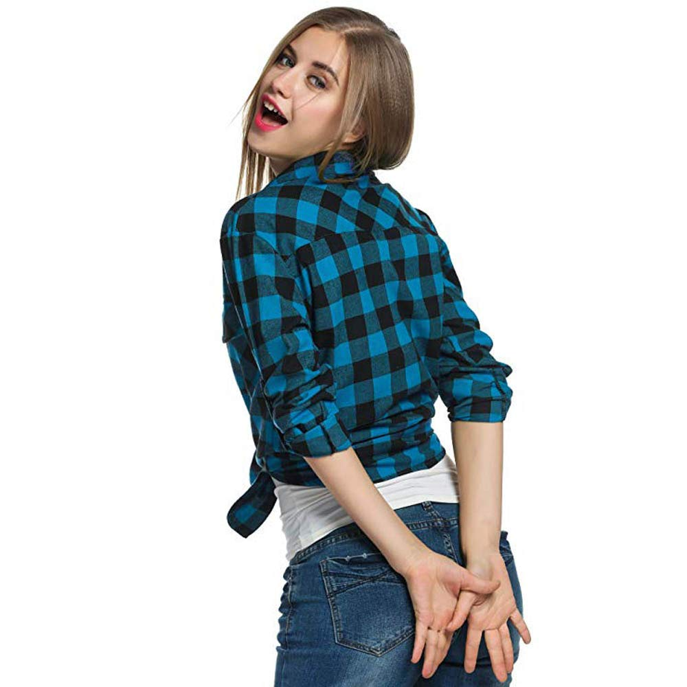 ALIKEEY Women S Classic Style Plaid Long Sleeve Shirt Top Womens Casual Tops Manga De Franela Tartán Roll - Up Botón Abajo Camisa: Amazon.es: Ropa y ...