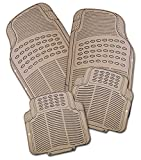 Zone Tech All Weather Rubber Semi Pattern Car Interior Floor Mats - 4-Piece Set Beige Heavy Duty Car Interior Floor Mats