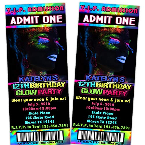 Pink GLOW Party Girl Birthday Invitations Sweet 16 Any