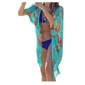 TININNA Femmes Mousseline de Soie Imprimée Floral Blouse Châle Cardigan Kimono Tops