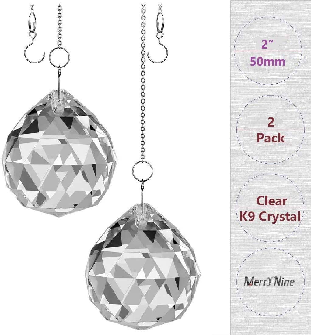 Hisredsun 4 PCS Crystal ball Crystal Pendant Chandelier Decor Rainbow Sun catcher Prisms Window Hanging Crystal Lamps Light Pendant Curtain Wedding Decoration Gift,Home,Office,Garden,Car Decoration