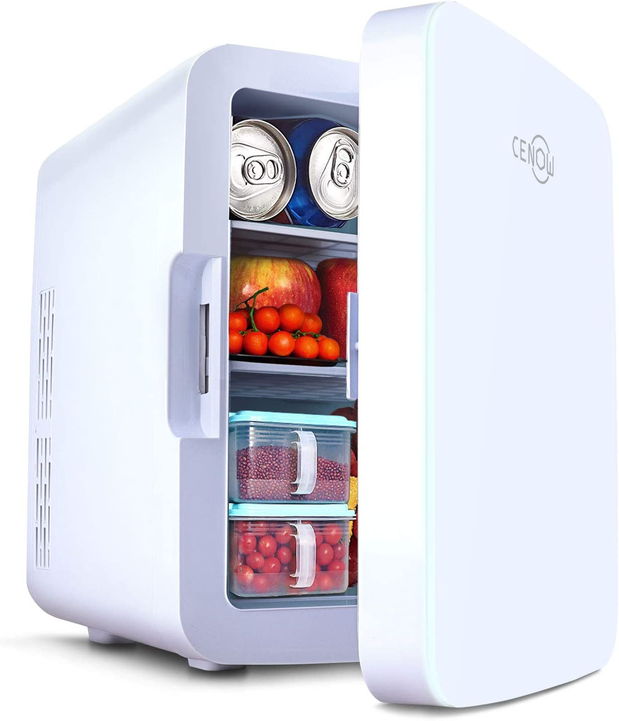 Mini fridge for bedroom, 10 Liter/12 Can Portable Mini skincare fridge, Car fridge Cooler and Warmer with 110V AC/12V DC, Personal Mini fridge for skin care, Food, Medications, Home & Travel (White, 10L)