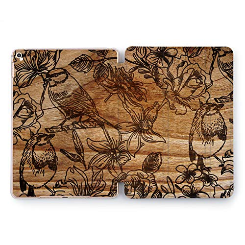 (Wonder Wild Wooden Birds iPad Case 9.7 Pro inch Mini 1 2 3 4 Air 2 10.5 12.9 2018 2017 Design 5th 6th Gen Clear Print Smart Hard Cover Sparrow Ornament Animals Birds Flyers Nest Painted Natural New)