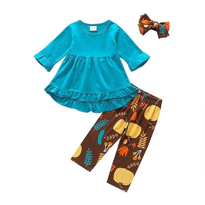 Bebés de Ropa Encantadora, YpingLonk Manga Larga Vestido y Estampado Pantalones Camiseta para Niños Pijama