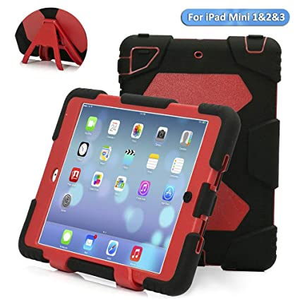 the best attitude 003fb 496d6 iPad Mini Case, ACEGUARDER Full Body Protective Premium Soft Silicone Cover  with Kickstand for iPad Mini 1 2 3 (Black/Red)