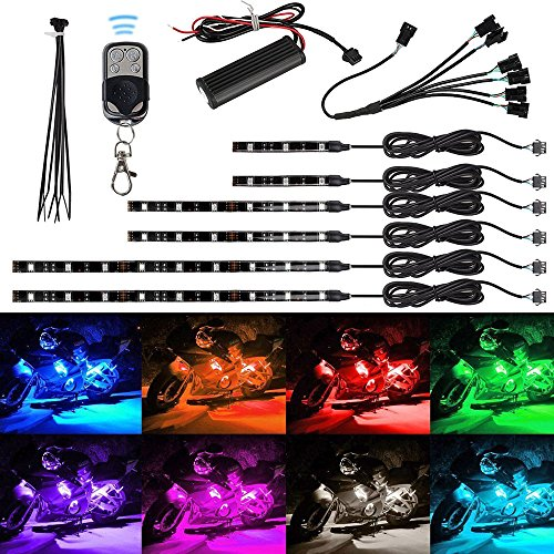 EEEKit 6pcs Motorcycle LED Light Kit Million Color Flexible Accent Glow Neon Strips with Wireless Remote Controller for Car SUV Truck Bike ATV Interior Exterior