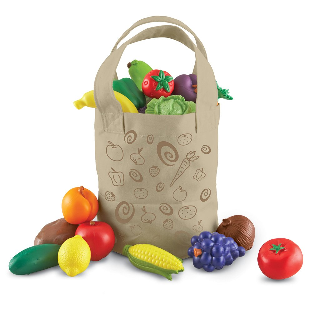 Learning Resources Fresh Picked Fruit & Veggie Tote, Pretend Play Food Set, 16 Piece, Ages 2+ by Learning Resources