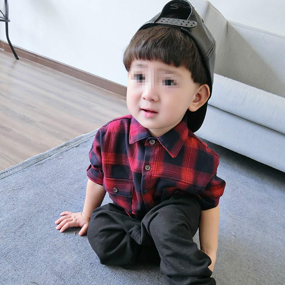 Verypoppa Baby Boys Girls Plaid Button Down Long Sleeves Cotton Shirt Top