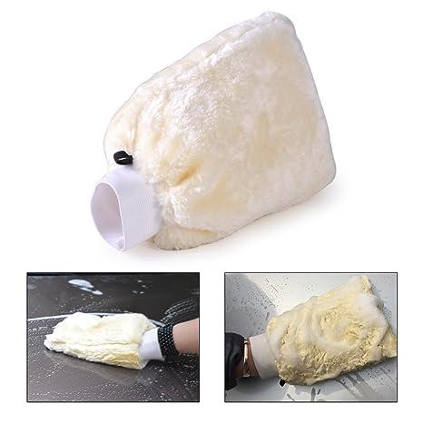 Beler suave coche lana de cordero guante de lavado automático de limpieza de oveja abrillantar guante