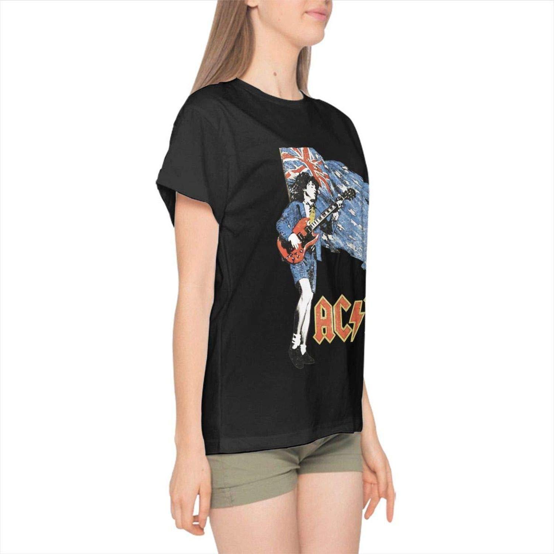 Siemet-Girl-Tee ACDC Womans Cotton Graphic Print Tee Short Sleeve T-Shirt