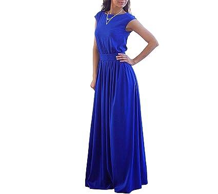 New Ornament Elegant Casual Royal Blue Pleated Dress Women Long