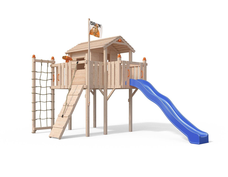 Blau OSKAR Terrizio XL-Spielturm Baumhaus mit Rutsche, Kletterrampe, Kletternetz und Spielhaus auf 1,50 Meter Podesthöhe (Blau)