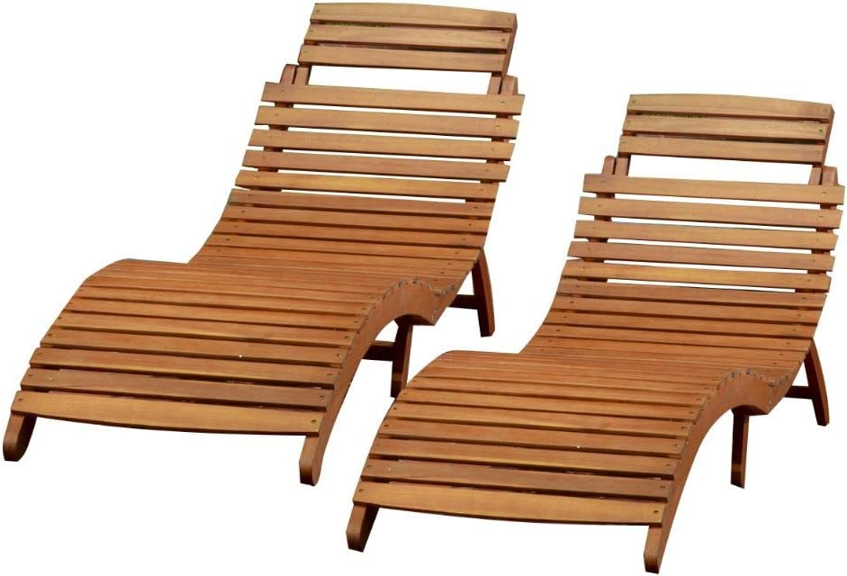 Christopher Knight Home Lahaina Wood Outdoor Chaise Lounge Set, 2-Pcs Set, Natural Yellow : Garden & Outdoor