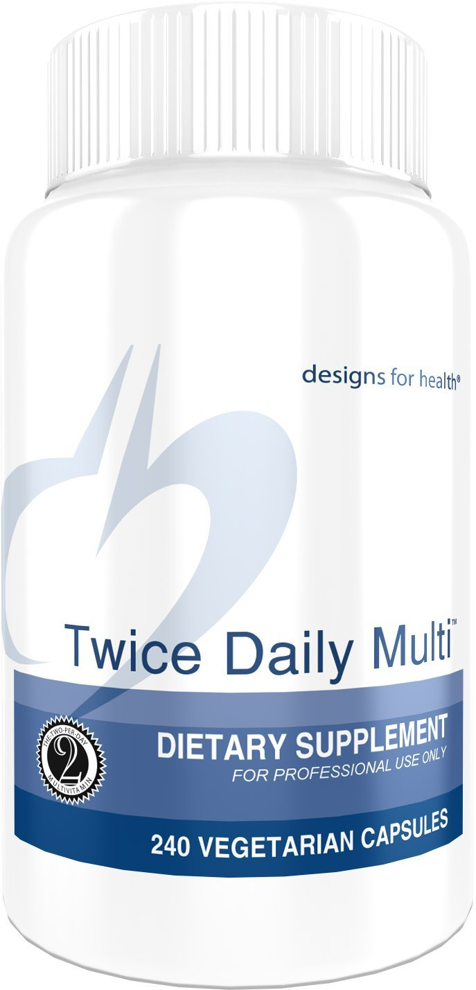Designs for Health - Twice Daily Multi - 240 Capsules, Iron Free Multivitamin with Active Folate + Chelated Minerals
