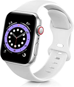 ZALAVER Bands Compatible with Apple Watch Band 38mm 40mm 42mm 44mm, Soft Silicone Sport Replacement Band Compatible with iWatch Series 6 5 4 3 2 1 Women Men White 38mm/40mm M/L