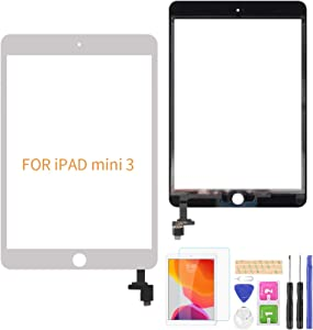 A-MIND for iPad Mini 3 A1599 A1600 Touch Screen Replacement(No Home Button) Front Glass Panel Replacement(No LCD, No Instructions with IC Chip & Tool Kits & Screen Protector(White)