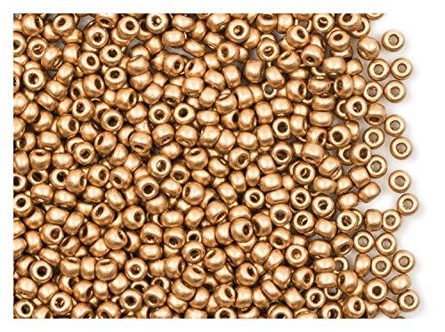 20gr (Approx. 750 pcs) 8/0 Czech Glass Seed Beads Rocailles, Aztec - Glass Gold Seed