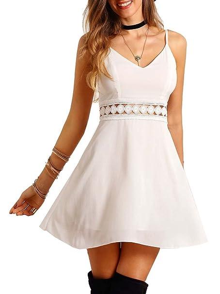 ROMWE Vestidos para Mujer Vestido Tirante Fino Encaje -Blanco L