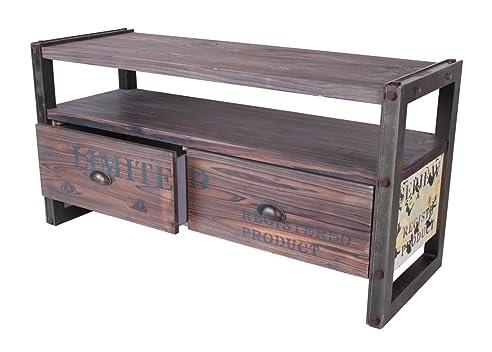 Metall holz möbel  Industrie Design Sideboard Massiv Holz Beistelltisch Metall Optik ...