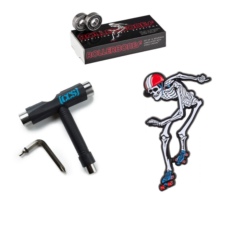 RollerBones Bearings 16 Pack, Black CCS Skate Tool Derby Skeleton Lapel Pin
