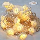 YMing 2 Packs Rose Lights Battery Operated,6.6FT Rose Gold Lights, Rose Pearl String Lights Indoor for Wedding Party…