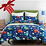 Macohome Kids Duvet Cover Set Dinosaur Twin Size Boys Cartoon Soft Microfiber Bedding Set with 1 Envelope Pillowcase (Dinosaur, Twin)