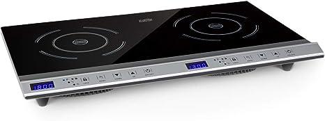 Klarstein Cucinata Cocina de inducción - 2 zonas de cocción, Rendimiento total de 3.100 W, 10 niveles de 200-1.300 W, 60-240 °C, Superficie de vidrio, ...