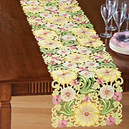 Embroidered Floral Yellow Blossom Table Linens, Yellow, Runner (Embroidered Table Runner compare prices)