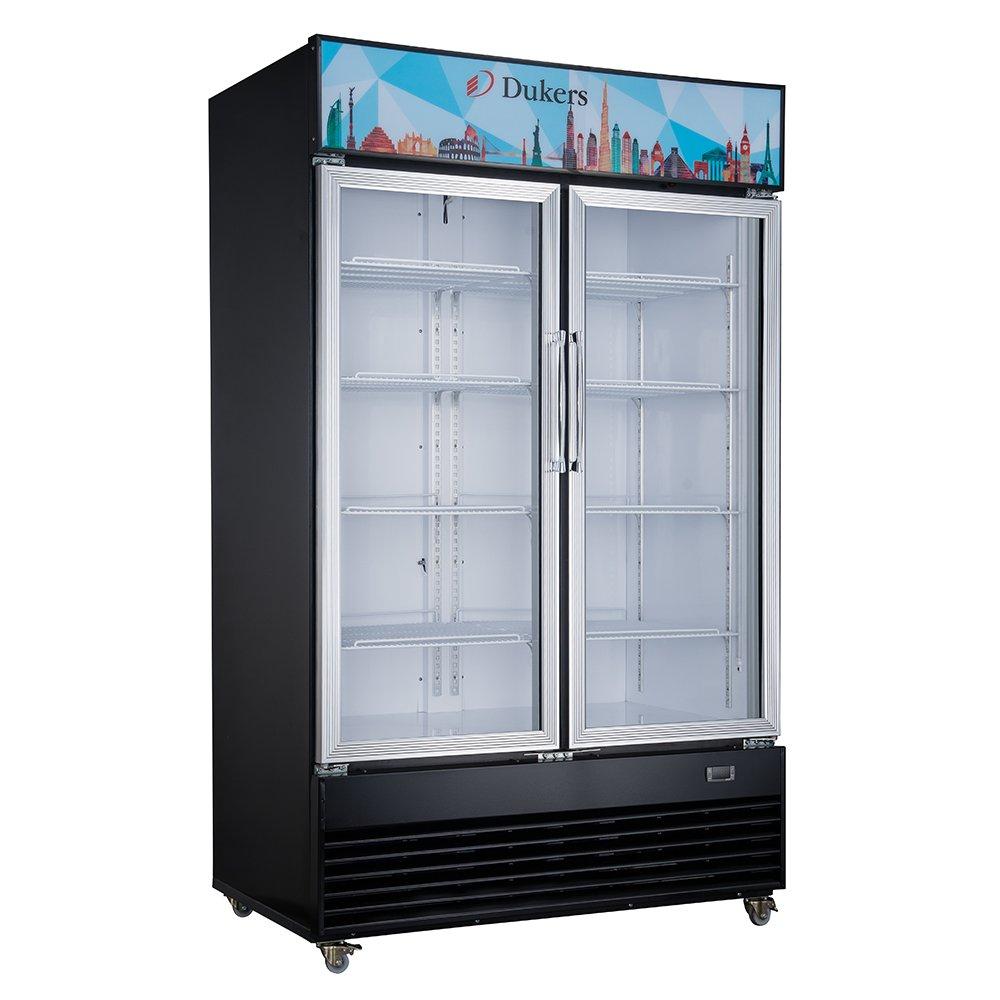 Dukers Appliance USA DUK600172574530 Two Swing Glass Door Merchandiser Refrigerator, 47'' Width x 29'' Depth x 79'' Height- 34 cu. ft., Black