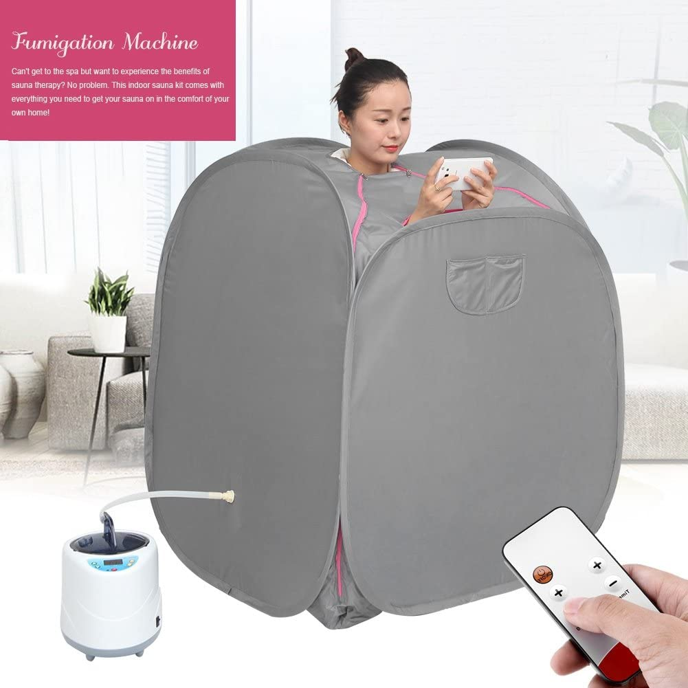 EU 220V Jacksking Portable Steamer Sauna 2L Sauna Pot Tent Set Sauna Therapeutic Machine Home Personal Spa Indoor Body Slimming Therapy for Relaxation