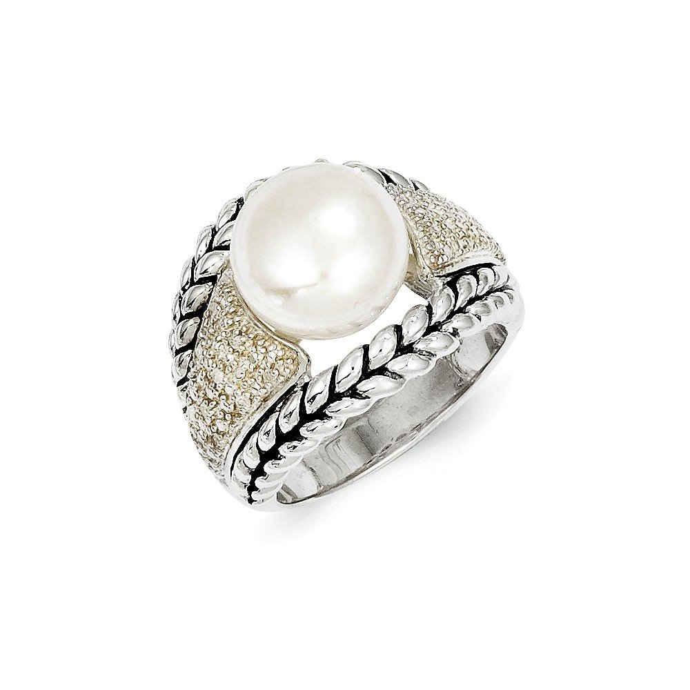 Size 8 - Solid 925 Sterling Silver FW Cultured Pearl & Diamond Ring (3mm)
