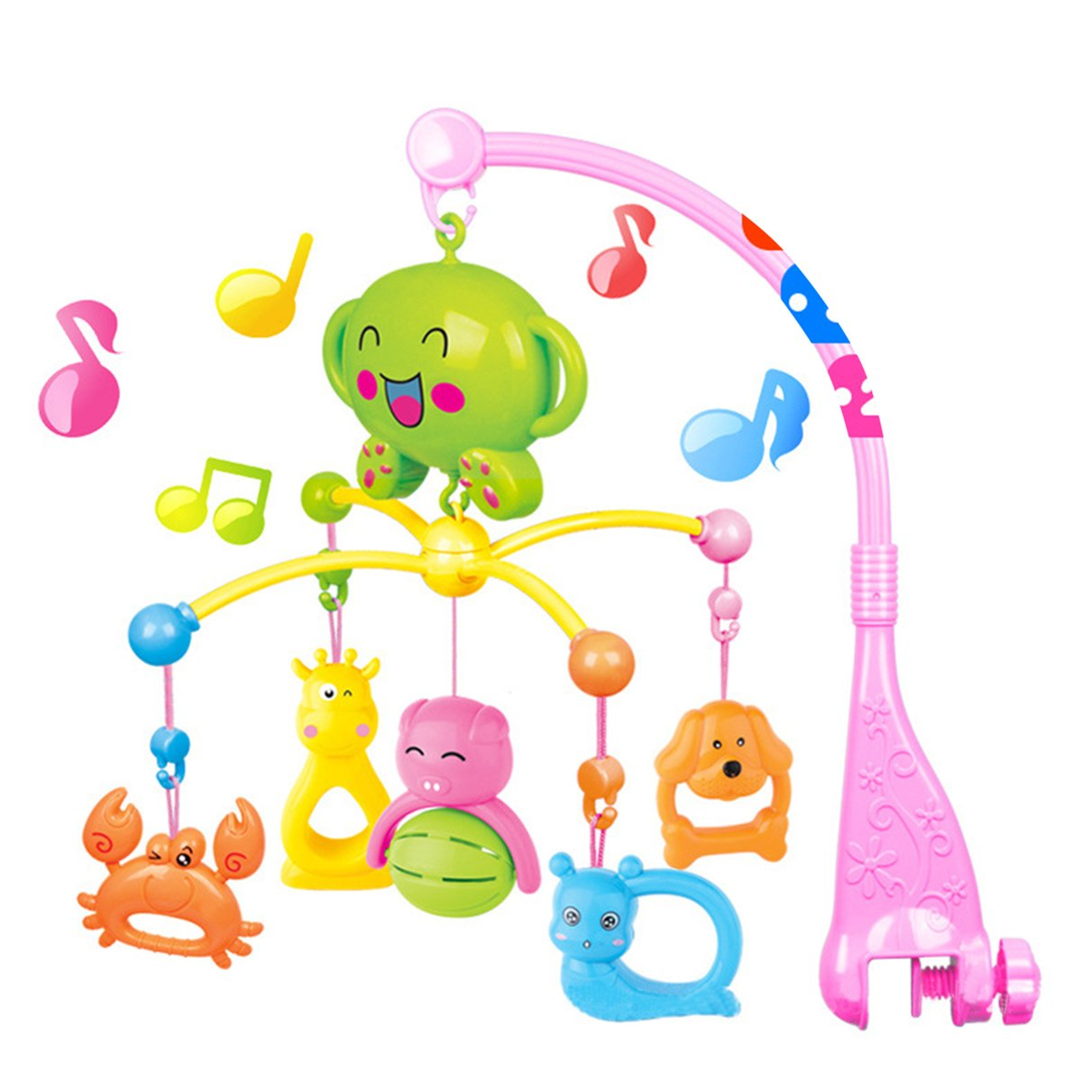 COLOOM Baby Musical Crib Mobiles Toys Infant Rattles Baby Bed Bell Toys with Hanging Rotating Cute Colorful Animals, 20 Melodies (Pink)