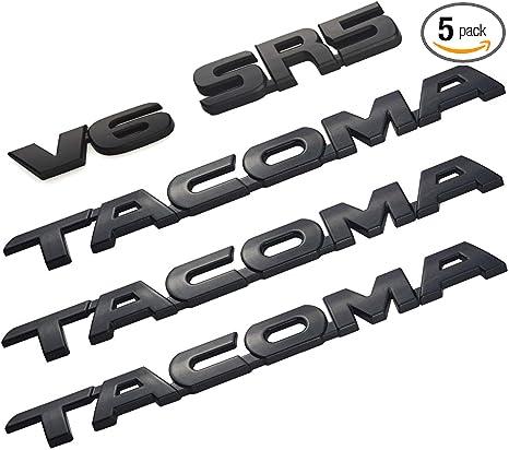 2Pcs V6 Emblem 05-18 REAR TAILGATE BADGE back Sign Symbol Logo compatible with Tacoma Black