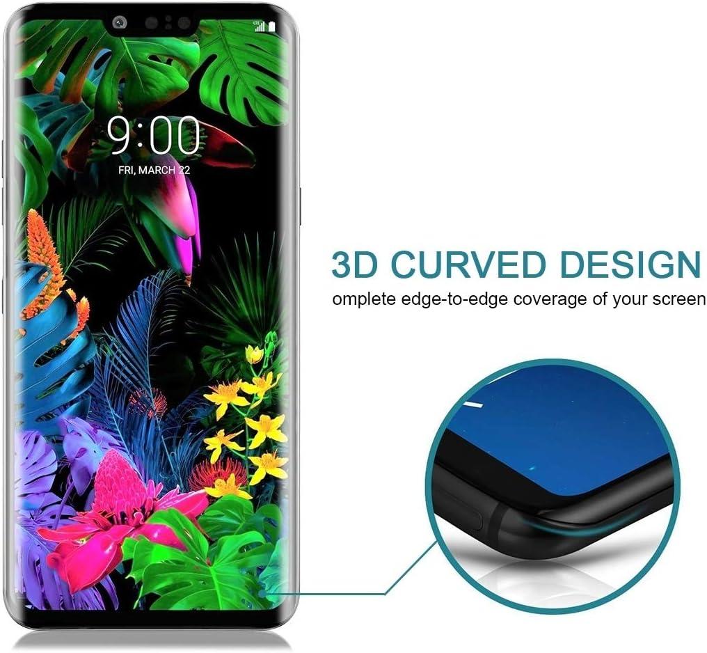 JIN Screen Film 25 PCS 9H 3D Full Screen Tempered Glass Film for LG G8 ThinQ Black