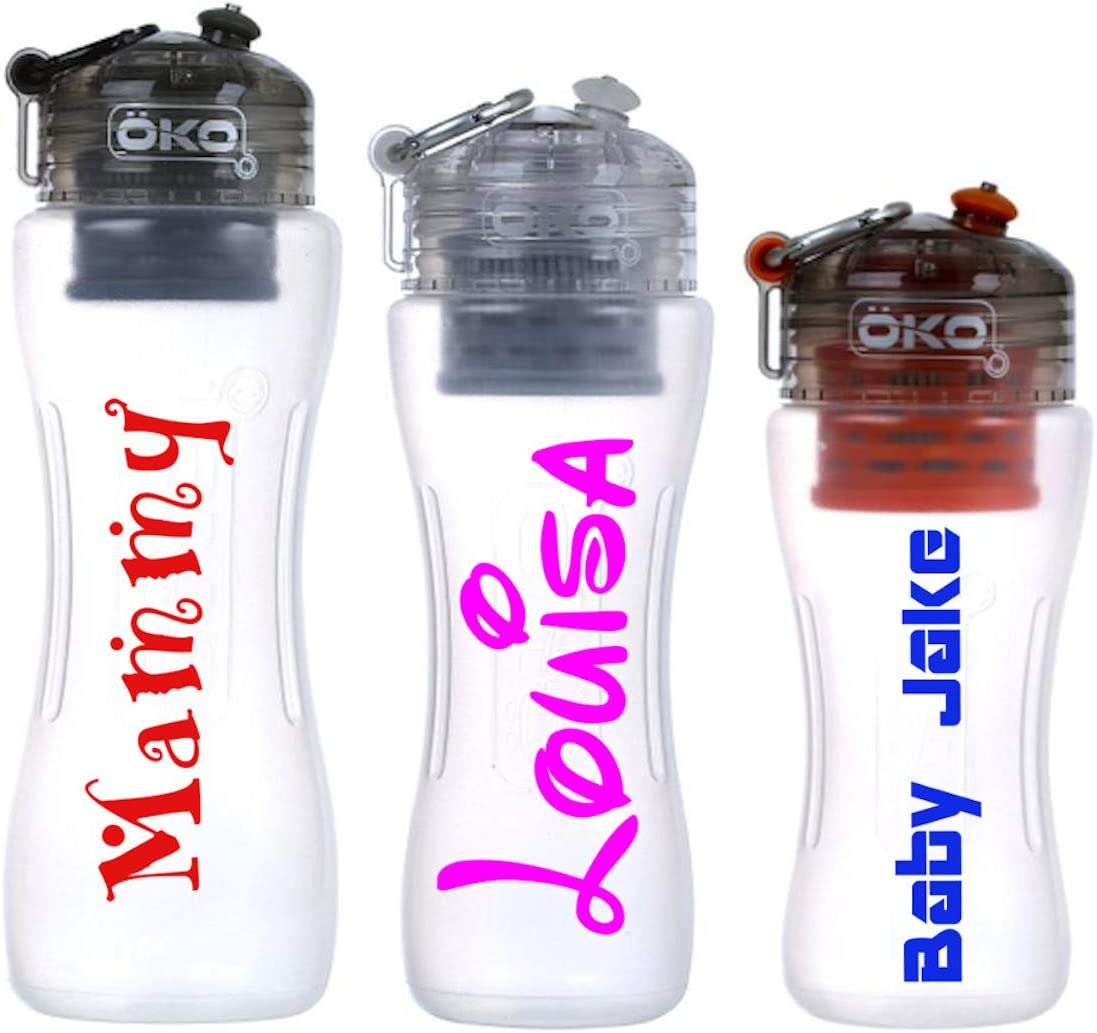 2 x Personalised Name Stickers Drinks Bottle Gym Bike Water Planet Font Sports