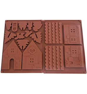 DingSheng 2 Unidades Antiadherente Navidad Chocolate Casa de Jengibre Silicona Molde árbol de Navidad Forma de
