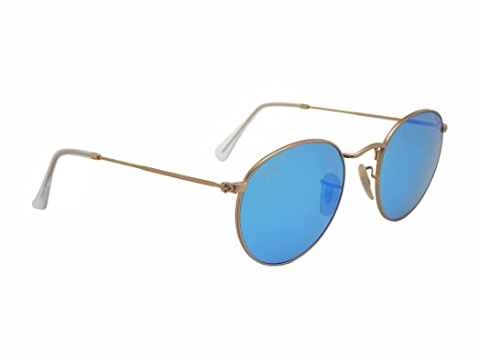 8aedb499fc Amazon.com  Ray Ban Round Metal RB3447 112 4L Gold Blue mirror 50mm Polarized  Sunglasses  Clothing
