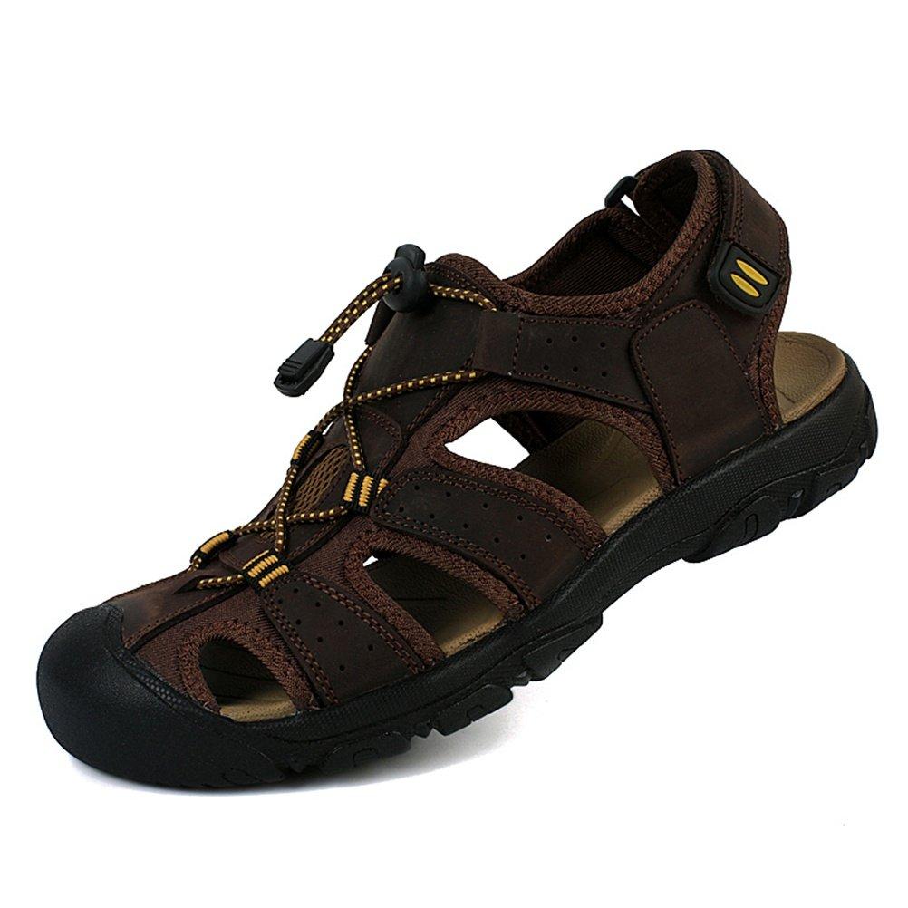 HN scarpe Sandali da uomo Sportivi Scarpe da spiaggia Sandali da passeggio Trekking Escursionismo PU-Pelle, Dark Marrone, 38 EU