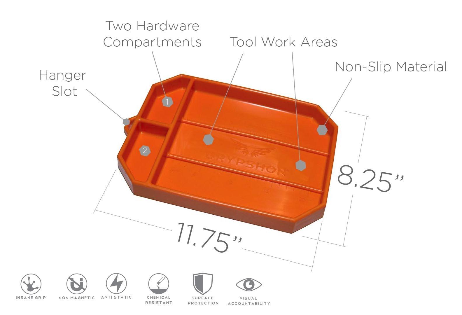 Grypmat | Non-Slip Flexible Orange Tool Tray | Tool Box Organizer | Socket Organizer | Tool Holder | Tool Mats | No Magnets | Easy Clean Up | As Seen On Shark Tank (Medium) by Grypshon (Image #2)