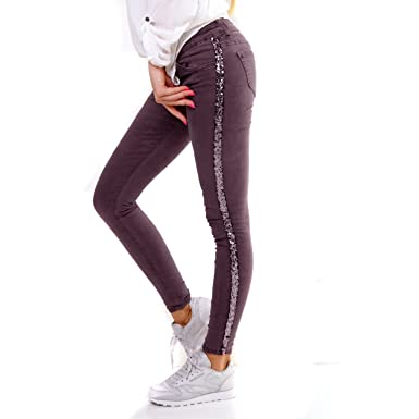 außergewöhnliche Farbpalette Genieße den kostenlosen Versand zum halben Preis Damen Jeans mit Seitenstreifen Pailletten Glitzer Skinny ...