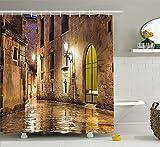 Eurag Gothic Decor Shower Curtain Set, Gothic Ancient Stone Quarter Barcelona Spain Renaissance Heritage Gothic Night Street Photo, Bathroom Accessories, 69W X 72L inches