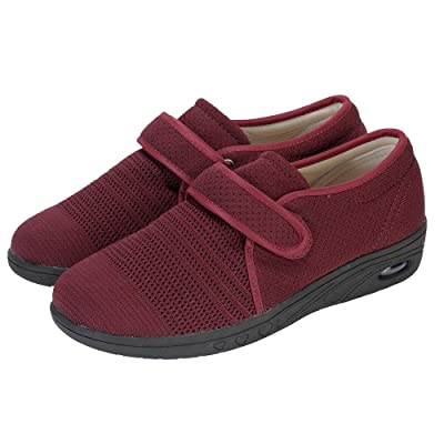 Women's Breathable Mesh Walking Shoes Adjustable Comfy Elderly Outdoor Diabetic Recovery Sneakers for Edema, Swollen Feet, Plantar Fasciitis: Shoes
