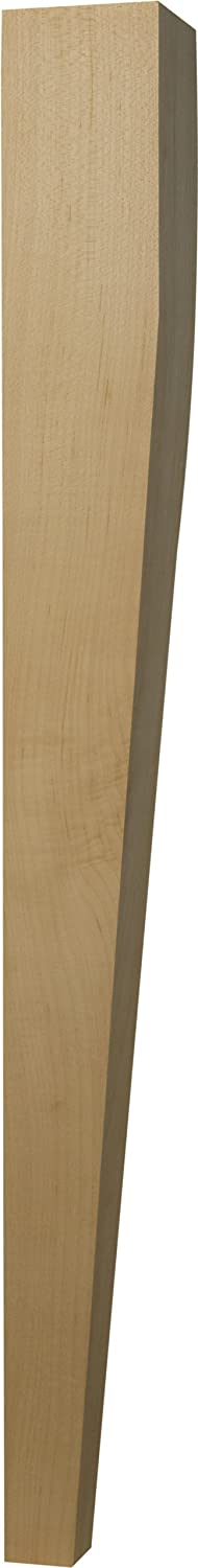2 Sided Tapered Dining Table Leg in Soft Maple - Dimensions: 29 x 2 3/4 inches