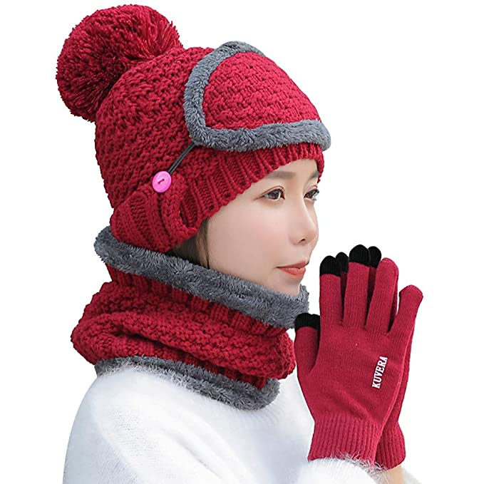 4 Piece Beanie Hat Scarf and Gloves Set with Detachable Mask Winter Warm Knit  Hat with 0bd6a961632