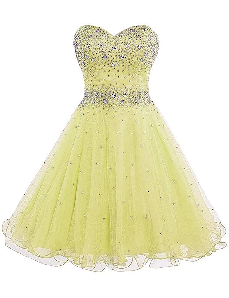 Yellow APXPF Women's Short Beaded Cocktail Party Bridesmaid Homecoming Dress