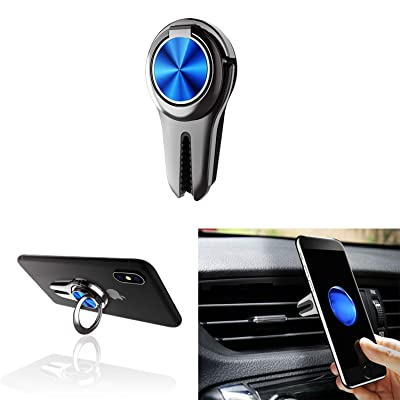 Alllink Mobile Phone Holder Smartphone Mount 3 in 1 Car Vent Phone Holder Phone Grip Phone Stand Phone Ring Compatible with All Smartphone and Tablets (Blue)